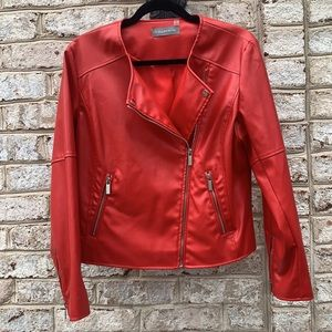 Bagatelle Asymmetrical Red Faux Leather Jacket L